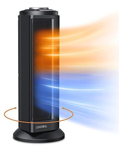 Lensoul Termoventilatore Torre Oscillante Compatto 1100 W/ 2000 W Riscaldatore di Spazio Portatile con Termostato Regolabile per Casa Ufficio, Riscaldamento Rapido 3 Secondi, Protezione di Sicurezza