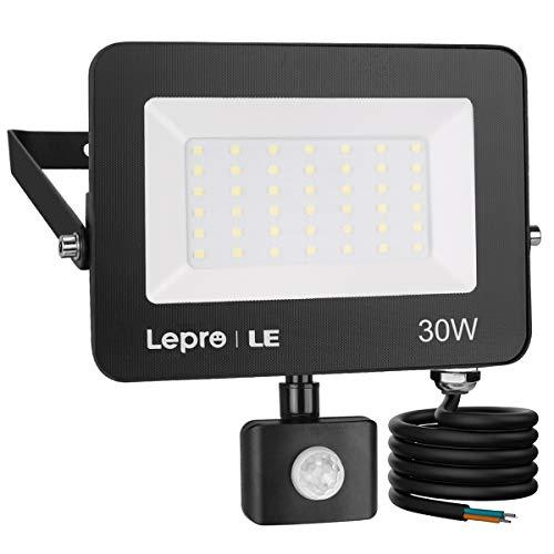Lepro Faretto LED da Esterno con PIR Sensore di Movimento, 30W 2800 lumen Bianco Diurno 5000K, Proiettore Faretto da Esterno Impermeabile IP65 per Giardino, Corridoio, Illuminazione Interna ed Esterna