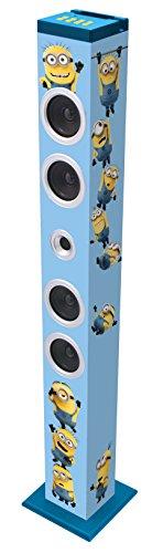Lexibook BT900DES - Altoparlante Bluetooth Tower Cativissimo Me, Design Minions, con Docking Station per Tablet/Smartphone, Presa AUX e Porta USB, Blu/Giallo