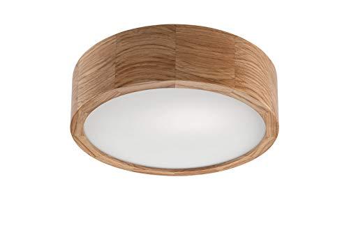 Licht-erlebnisse 2C72E41DDC - Lampada da soffitto per soggiorno, sala da pranzo, in legno, modello Arbaro, legno (rovere), vetro., rovere, Ø 27cm, E27