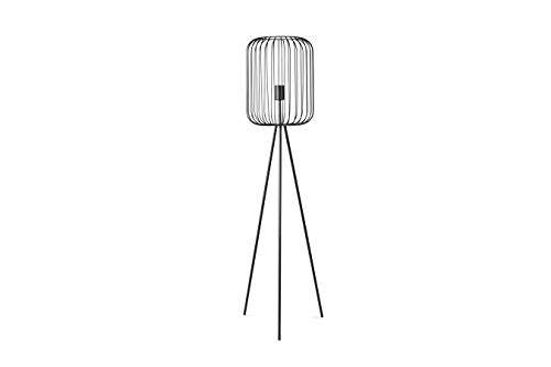 LIFA LIVING Lampada treppiede design moderno per salotto, Lampade da terra vintage con paralume stile gabbia, Metallo nero (Grande)