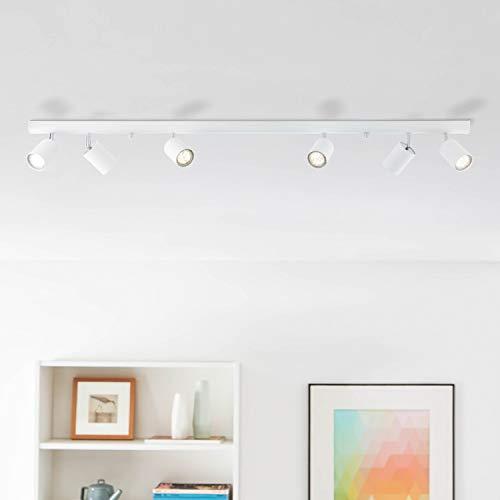 Lightbox - lampada di design da soffitto, faretti Spot, 6luci GU10, bianco, max. 35W, Lunghezza: 1,19m, 6pezzi