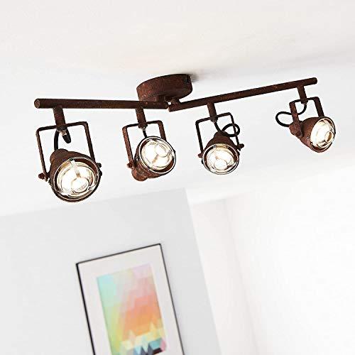 Lightbox - Plafoniera rustica a 4 luci, con bracci girevoli, 4 attacchi GU10 per max. 4 Watt, metallo, colore: Marrone ruggine