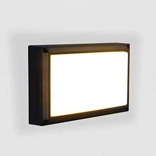 Lightess 18W Lampada da Parete Esterno LED Impermeabile IP65 Applique da Parete Esterno per Giardino Garage Officina Cordile, Bianco Caldo