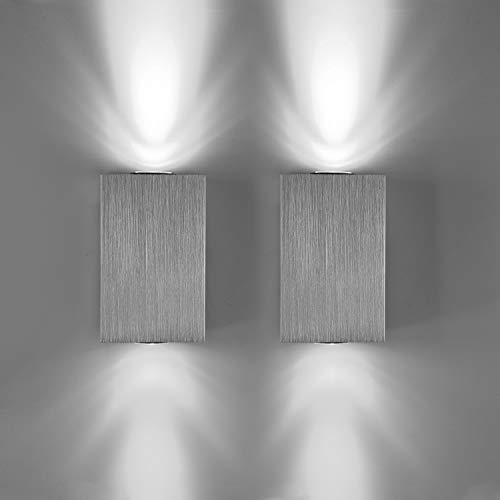 Lightess Applique da Parete Interni 2 Pezzi Lampada a Muro Applique LED Moderne in Alluminio 6W per Decorazione Soggiorno Camera da Letto Bagno Colore Bianco Freddo