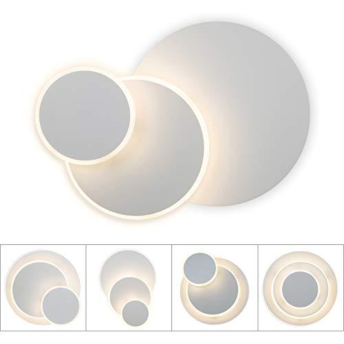 Lightess Applique da Parete Interni LED 15W Creativo Lampada a Muro Applique Moderne Forma Rotonda 350° Girevole Luce 3 in 1 per Comodino Soggiorno Camera da Letto Corridoio, Bianco Caldo