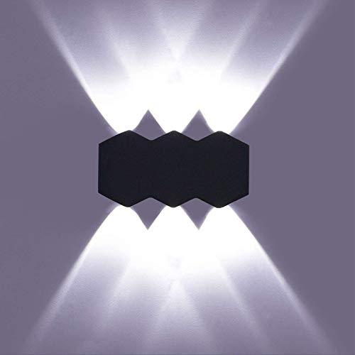 LIGHTESS Applique da Parete LED 6W Lampade da Parete Interni Moderne Lampada a Muro Nero per Camera da Letto, Soggiorno, Scala, Corridoio (Bianco Freddo)