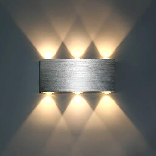 Lightess Applique da Parete LED Lampada a Muro Interni Applique Moderne in Metallo 6W per Soggiorno Camera da Letto Bagno