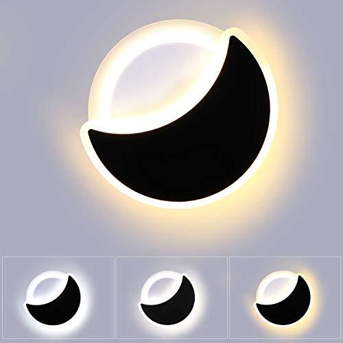 Lightess Lampada da Parete Dimmerabile 3 Temperature di Colore 18W Moderno Applique da Interno LED Forma Rotonda e Luna Creatività Luce Acrilico per Camera dei Bambini, Soggiorno, Bianco e Nero