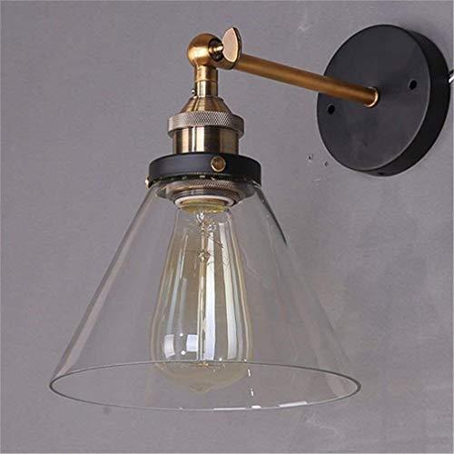 Lightess Lampada da Parete Vintage Industriale Applique da Parete Edison E27 Paralume in Vetro Trasparente Bowl Forma Lampada per Soffitta Caffetteria Soggiorno Camera da Letto Cucina Sala da Pranzo