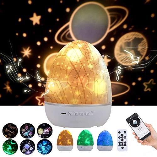 Lightess Lampada Proiettore Stelle Bambini 3 in 1 Lampada Notturna 360° Rotazione LED Musicale Bluetooth Telecomando Romantica Luce USB Regalo per Natale, Halloween, Neonati, 6 Pattern di Proiezione