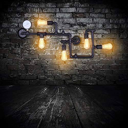 Lingkai Industriale Lampada Parete Tubo Dell'acqua Metallo Vintage Steampunk Applique da Parete con Cinque Sorgenti Luminose Edisonper ristorante Cafe Hallway Nero [Classe energetica A ++]