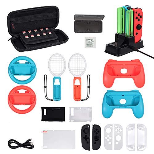 LiNKFOR 16 In 1 Kit di Accessori per Nintendo Switch Volante Dock di Ricarica Racchetta da Tennis Impugnature per Joycon Protezione per Schermo Custodia Compatibile con Switch Nintendo