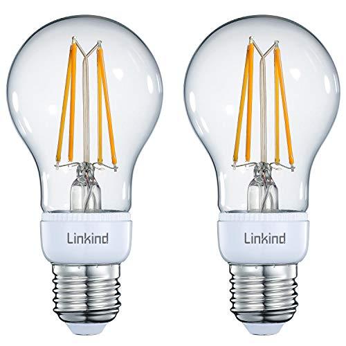 Linkind, confezione da 2 lampadine a LED Smart vintage, E27 806 lm, dimmerabili, lampadine a incandescenza da 70 W, luce bianca calda, illuminazione bridge/hub, compatibili con Alexa