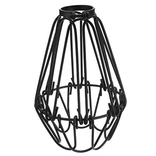 LIOOBO - Lampada a Sospensione Vintage con Filo di Ferro e Gabbia di Luce Aperta per Vichingo, con Paralume in Stile Vittoriano, Colore: Nero