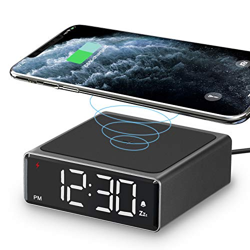 LIORQUE Sveglia Digitale da Comodino con Caricatore Wireless da 5W Supporta Fino a 7,5W / 10W Orologio Digitale con Funzione di Snooze Adatto per iPhone e Smartphone Android