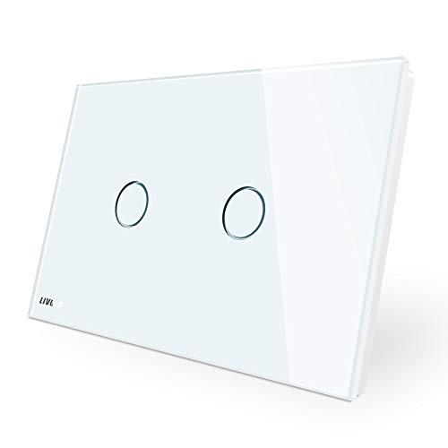 LIVOLO Interruttore della Luce con Indicatore LED Touch Switch con Pannello in Cristallo Toccare Interruttore a parete per Illuminazione Domestica,2 Gang 2 Way,C902S-11