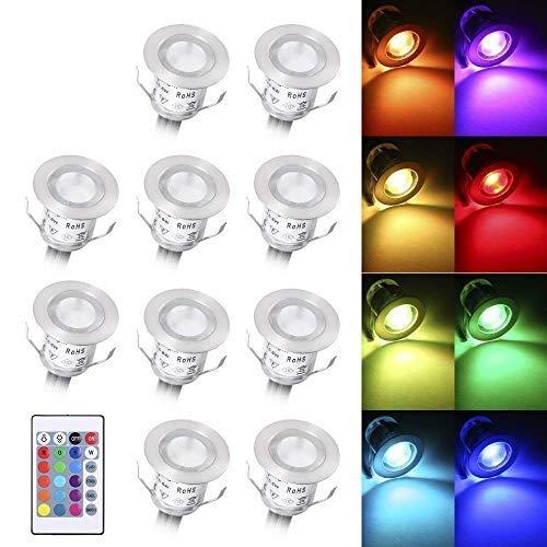 Lixada 10PCS Luci di Coperta LED con Telecomando 500LM Lampada da Incasso a Terra 16 Colori RGBW 4 Modalità di Illuminazione Regolabile IP67 Impermeabile per Cantiere Giardino SentieroTerrazza Scale