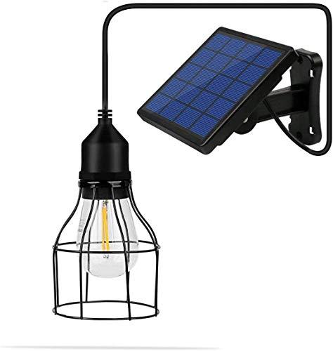 Lixada Lampada solare da esterno E27 Sensitive Light con paralume solare LED lampada a sospensione con filo per Garden Yard Home (lanterna)