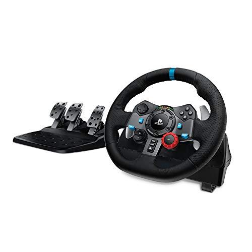 Logitech G29 Driving Force Volante da Corsa con Pedali Regolabili, Ritorno di Forza Reale, Comandi Cambio in Acciaio Inossidabile, Volante in Pelle, Spina EU, PS5, PS4, PC, Mac - Nero