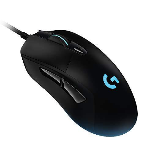 Logitech G403 Mouse Gaming, Sensore HERO 25K, LIGHTSYNC RGB, Leggero 87 g + 10 g Opzionale, Cavo Intrecciato, 25.600 DPI, Impugnature Laterali in Gomma, PC/Mac, Nero