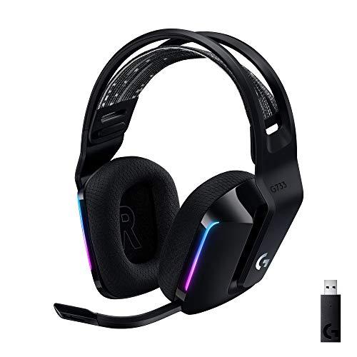 Logitech G733 Lightspeed Cuffia Wireless con Microfono Gaming con Fascia per la Testa a Sospensione, Lightsync RGB, Tecnologia Microfono Blue Voice e Driver Audio Pro-G, Nero