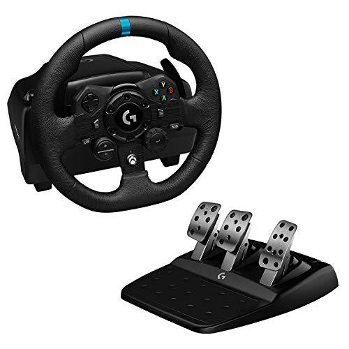 Logitech G923 TRUEFORCE Volante da Corsa e Pedali, fino a 1000 Hz di Ritorno di Forza, Pedale Reattivo, Launch Control, Doppia Frizione, Vera Pelle per Xbox Series X/S, Xbox One e PC, Nero