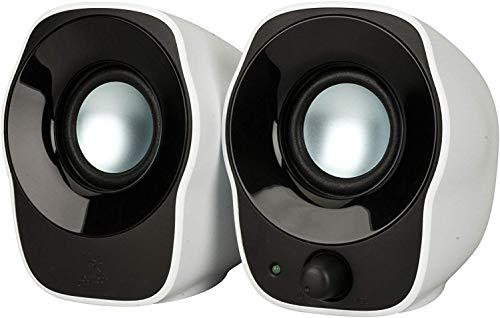 Logitech Z120 Altoparlanti Stereo PC Compatti, Ingresso Audio da 3.5 mm, Alimentazione USB, Controlli Integrati, Cavi Management Solution, Computer/Smartphone/Tablet, Bianco/Nero