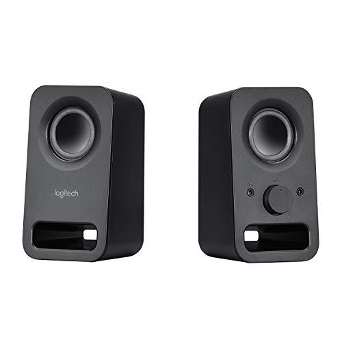 Logitech Z150 Casse PC, Ingresso Audio da 3.5 mm, Controlli Integrati, Jack Per Cuffie, Presa UK, Computer/Smartphone/Tablet/Lettore Musicale, Nero (Notte)