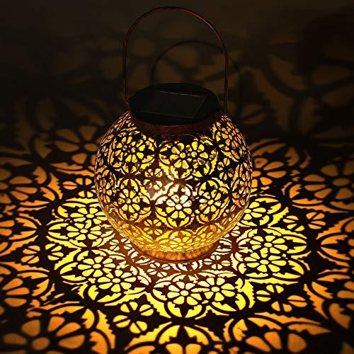 LOOHAOC Lanterna Solare Esterno LED Lanterna Solare Giardino Impermeabile IP44 Lanterna Solare Giardino Luci Decorativa per Feste, Matrimoni, Patio, Parco, Prato, Natale(bronzo)