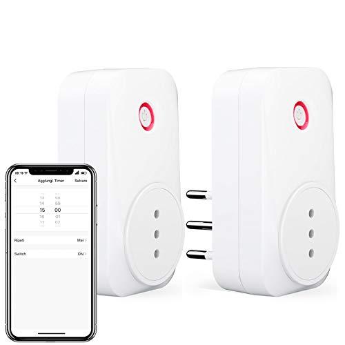 LoraTap 2pz Presa Intelligente WiFi Smart Plug Spina Senza Fili Compatibile con Google Home e Amazon Alexa, Controllo Remoto Funzione di Temporizzazione per Elettrodomestici, 10A/2500W, Bianco