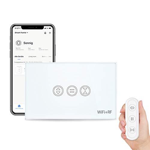 LoraTap Interruttore Tapparelle WiFi con Telecomando RF, Interruttore Tattile per Tapparelle Elettriche, Controllo Vocale con Alexa e Google Home, Controllo App Smart Life, Timer Switch 600W