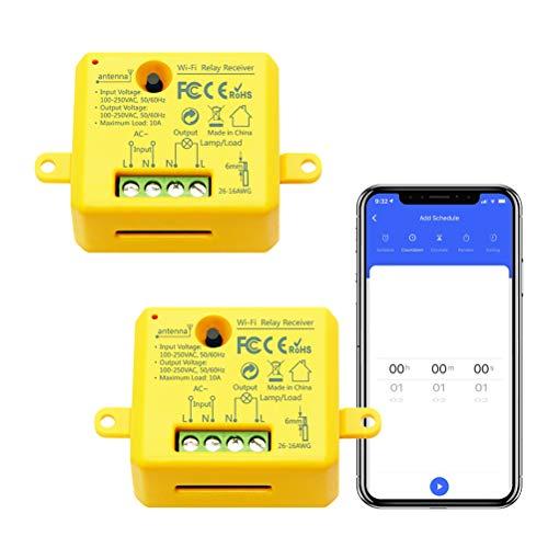 LoraTap Interruttore Timer WiFi Alexa, Interruttore Intelligente Wireless Controllo Remoto con Telefono App iOS Android, Compatibile con Alexa Echo e Google Home, 2pz Ricevitori a Relè 2500W