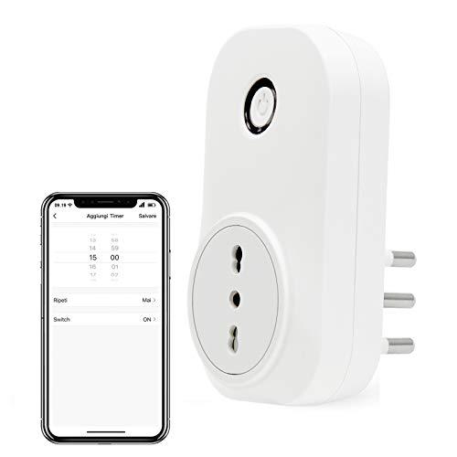 LoraTap Presa Intelligente WiFi Smart Plug Spina Senza Fili Compatibile con Google Home e Amazon Alexa, Controllo Remoto Funzione di Temporizzazione per Elettrodomestici, Presa Italiana 10A 16A 3500W