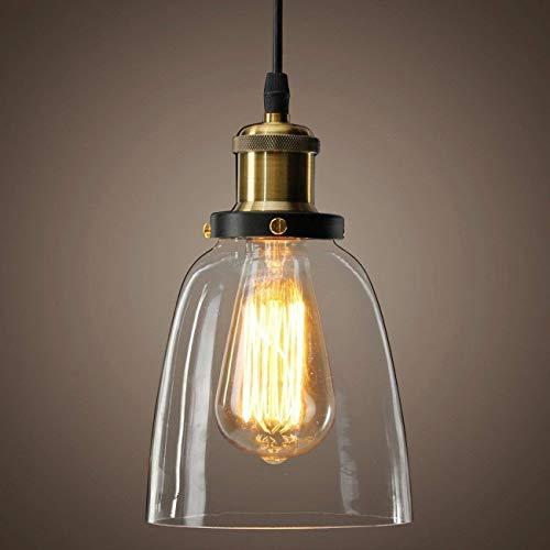 Louvra Lampada a Sospensione Vintage Industriale Stile Edison Lampadario da Soffitto Paralume in Vetro Attaco E27