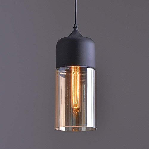 Louvra Lampadario Industriale Vintage,Edison Stile Lampada a Sospensione Retro Plafoniera a Soffitto Paralume in Vetro Attaco E27 (Lampadina non Inclusa)