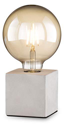 loxomo - lampada da tavolo a cubica in cemento, 9 x 9 x 9 cm, lampada da tavolo in cemento con attacco E27, fino a max.60W, IP20, grigio cemento