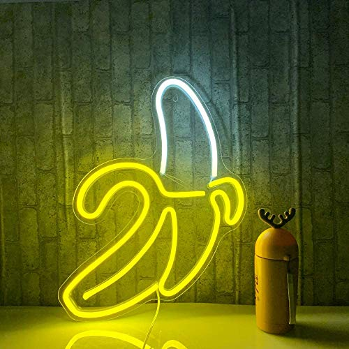 Luce al neon a forma di banana - Luci al neon decorative da parete, per cameretta dei bambini, 28 x 50 cm (colore giallo caldo)