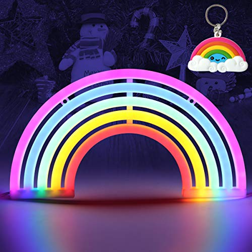 Luce al neon, Rainbow neon Sign Night Lights Wall Decor Home Decoration Light per bambini, camera da letto, regalo di compleanno, festa di nozze (arcobaleno) Rainbow-5colour