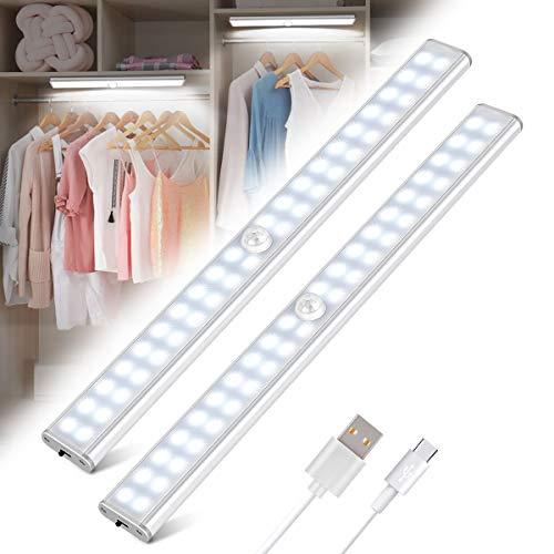 Luce Armadio 40 LED, Tanbaby Luce per Armadio, Lampada Armadio con Sensore Movimento, USB Ricaricabile, Luce LED con Striscia Magnetica Adesiva, per Armadio, Scale, Corridoi, Cucina, Garage (2 Pezzi)