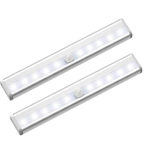 Luce Armadio Led con Sensore, AYUTOY [2 Pezzi] Luce Notte Led di Movimento con 10 LED con Striscia Magnetica Adesiva, Auto-On/Off, Lampada Notturna a LED per Armadio/Cassetto/Percorso