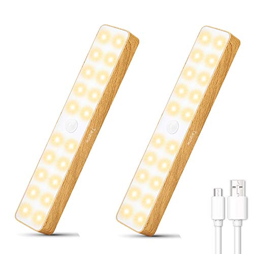 Luce Armadio LED con Sensore, Taipow Luce Ricaricabile Batteria con USB, Senza Fili Luci Notturne, Luci Lampada Ricaricabile 20 LED, per Armadi, Pensili, Corridoio, Cucina, Garage - 2 Pezzi