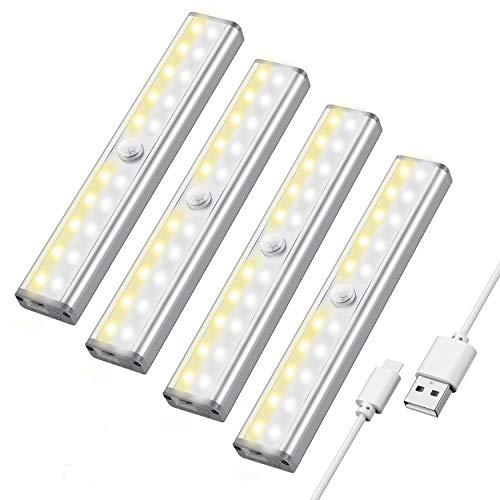 Luce Armadio Notte Led,Maxuni 4 Pack 20 LED Luce Notturna con Sensore di Movimento/USB Ricaricabile/3 modalità colore/Striscia Magnetica Adesiva,Argento[Classe di efficienza energetica A++]