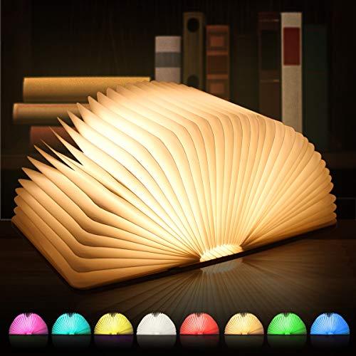 Luce da libro a LED, illuminazione d'atmosfera, 8 modalità colore, luce da libro in legno, lampada da tavolo, lampada da comodino, luce decorativa, pieghevole a 360 °