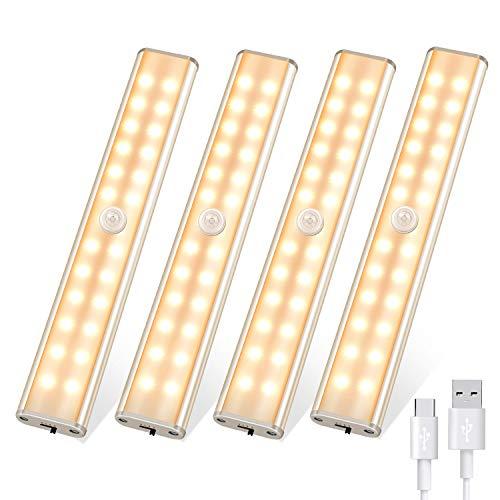 Luce led armadio, Luci notturne con sensore di movimento per interni 24 LED, luci per armadio ricaricabili wireless USB con striscia magnetica adesiva, luce per guardaroba per cucina(luce calda)
