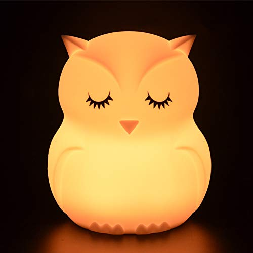Luce Notte Bambini Tekemai Lampada Notturna, Abat-jour per Allattamento,Lampada da comodino in silicone 9 colori con telecomando, Lampada LED ricaricabile Camera da letto/regalo per bambini - Gufo