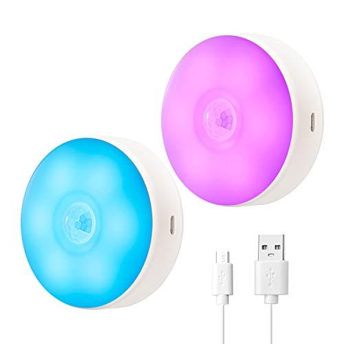 Luce Notte LED, Lampada Guardaroba con Sensore Movimento, Batteria Ricaricabile, Costruita in Magneti, 8 Colori Luce Possono Essere Impostati, per Armadio, Scale, Garage ecc. Auto/On/Off (2 Pezzi)