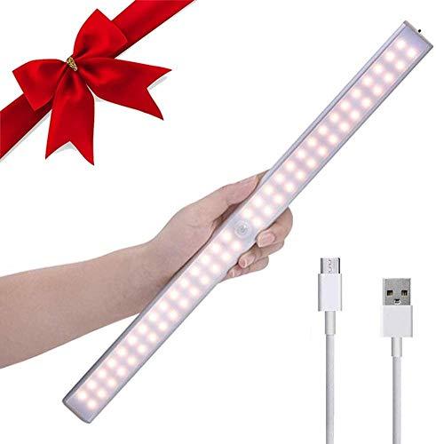 Luce Notte LED Sensore Movimento,Lacyie 60LED Luce per Armadio,Luci Portatile USB Ricaricabile 2000mAh Batteria,Striscia Magnetica Adesiva e Interruttore,Lampada Barra LED per Cucina,Scale,Corridoio