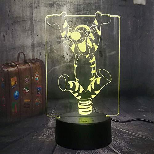 Luce notturna a LED per bambini, famiglia Winnie Tigro Cartoon, USB, telecomando 7 colori, decorazione per la cameretta del bambino, lampada a lava di Natale per bambini dell'amicizia (Tiger)