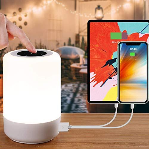 luce notturna bambini, Amouhom Lampada da comodino LED con 4 porte USB ricaricabili rapide - Lampada da tavolo dimmerabile per corridoi ufficio camera da letto soggiorno